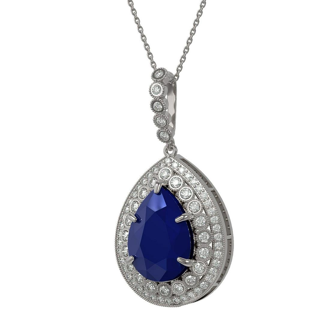 15.87 ctw Sapphire & Diamond Necklace 14K White Gold -