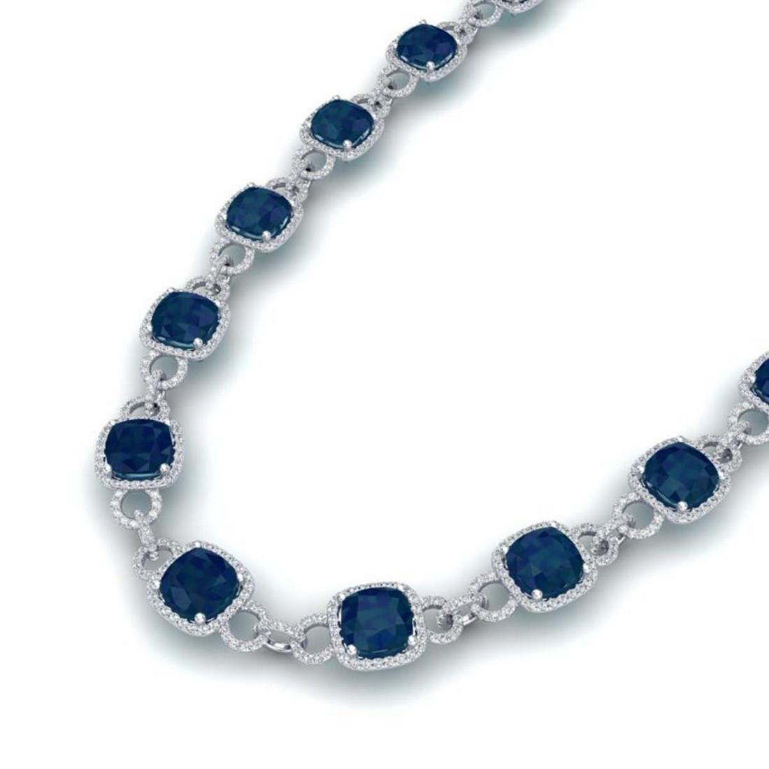 56 ctw Sapphire & VS/SI Diamond Necklace 14K White Gold