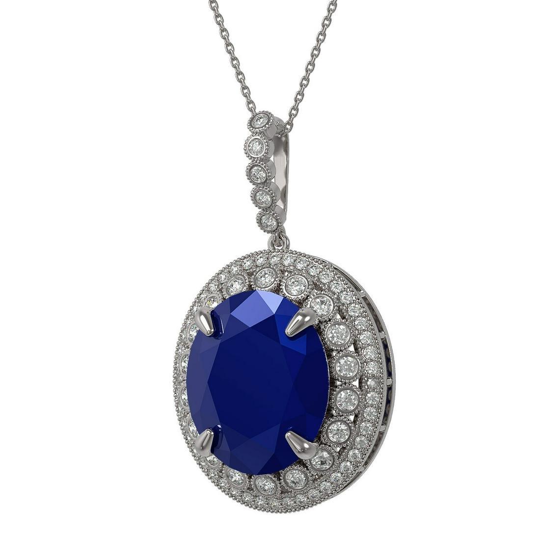 28.98 ctw Sapphire & Diamond Necklace 14K White Gold -
