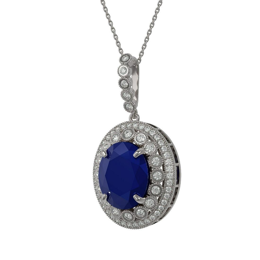 13.75 ctw Sapphire & Diamond Necklace 14K White Gold -