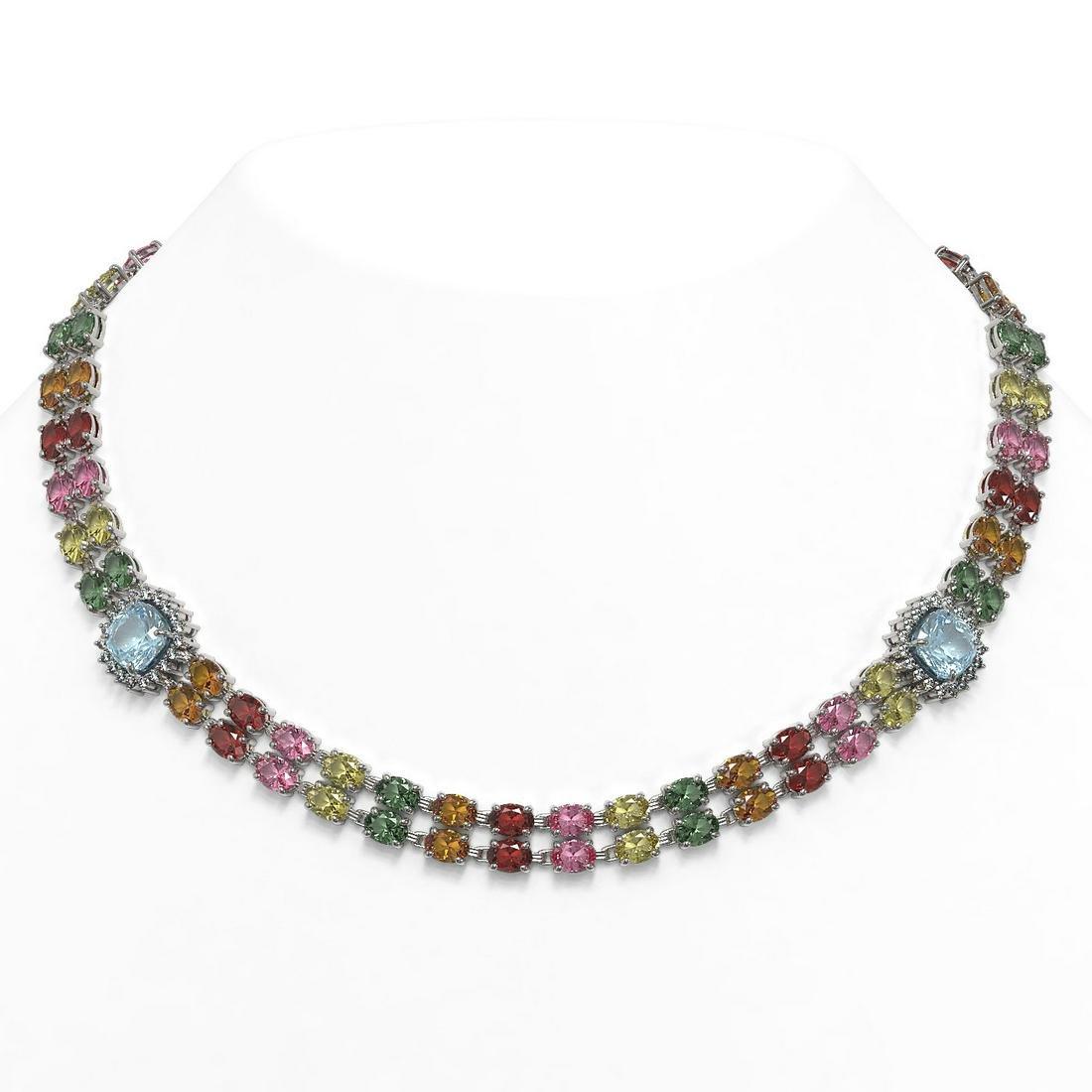72.67 ctw Sapphire & Diamond Necklace 14K White Gold -