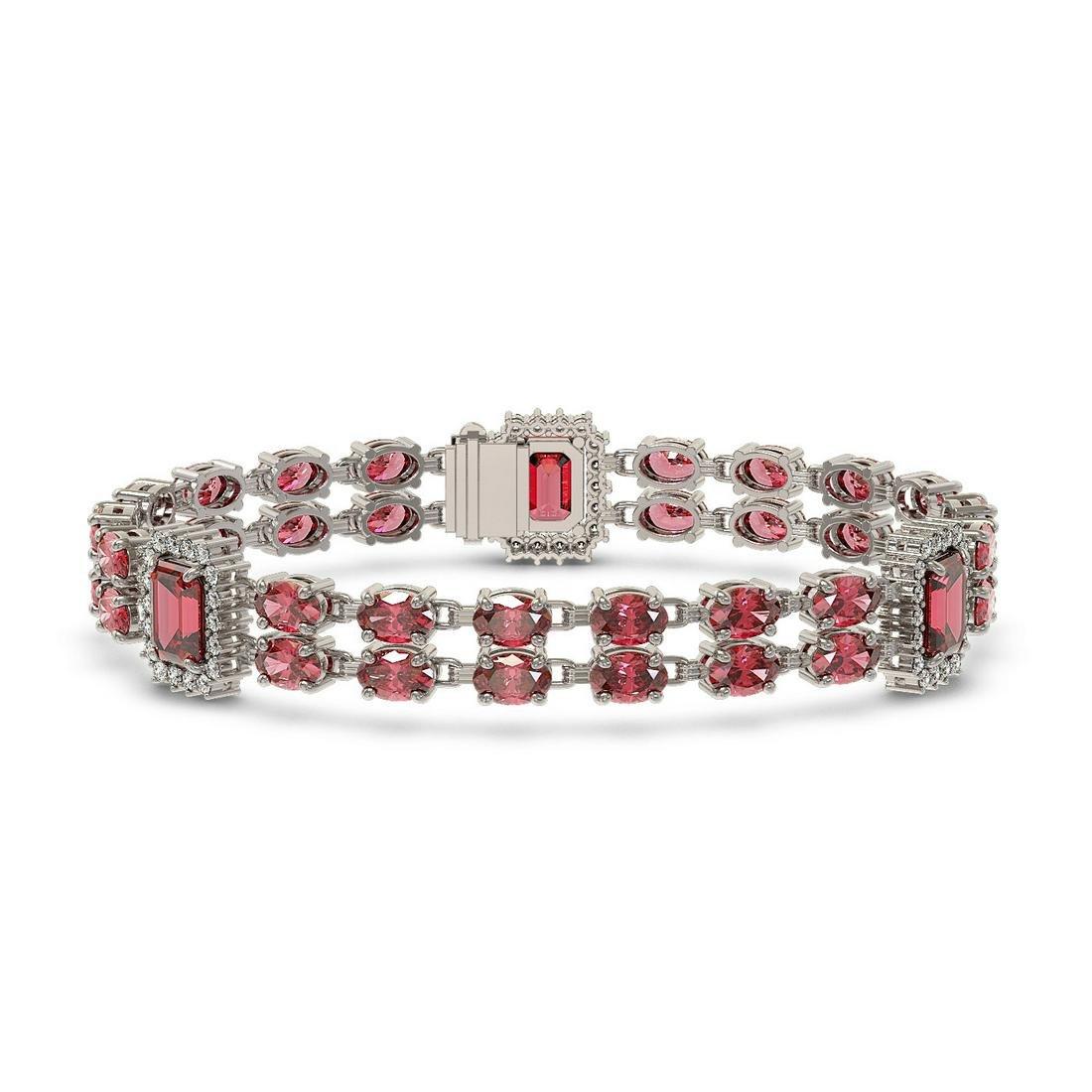 28.1 ctw Tourmaline & Diamond Bracelet 14K White Gold -