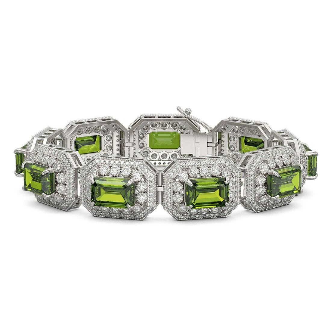 58.5 ctw Tourmaline & Diamond Bracelet 14K White Gold -