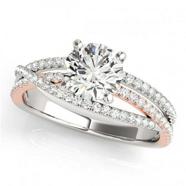 1.40 ctw VS/SI Diamond Solitaire Ring 18K White & Rose