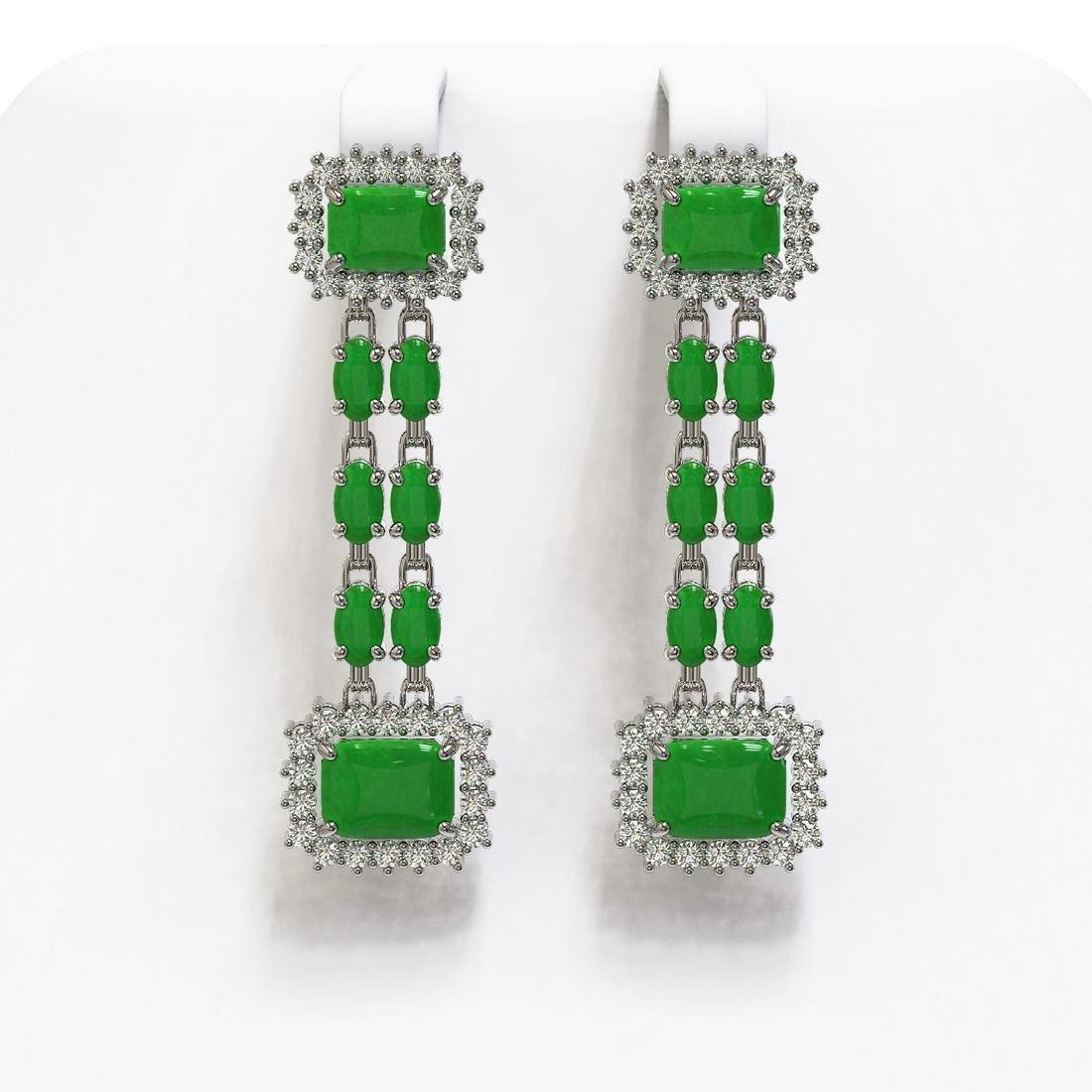 10.22 ctw Jade & Diamond Earrings 14K White Gold -