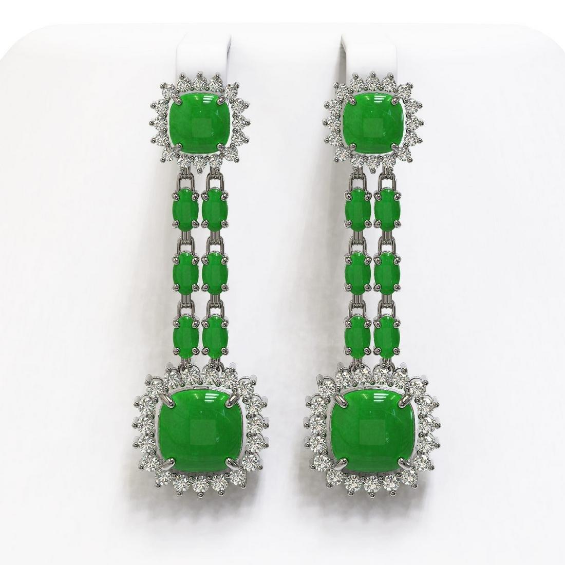 16.72 ctw Jade & Diamond Earrings 14K White Gold -