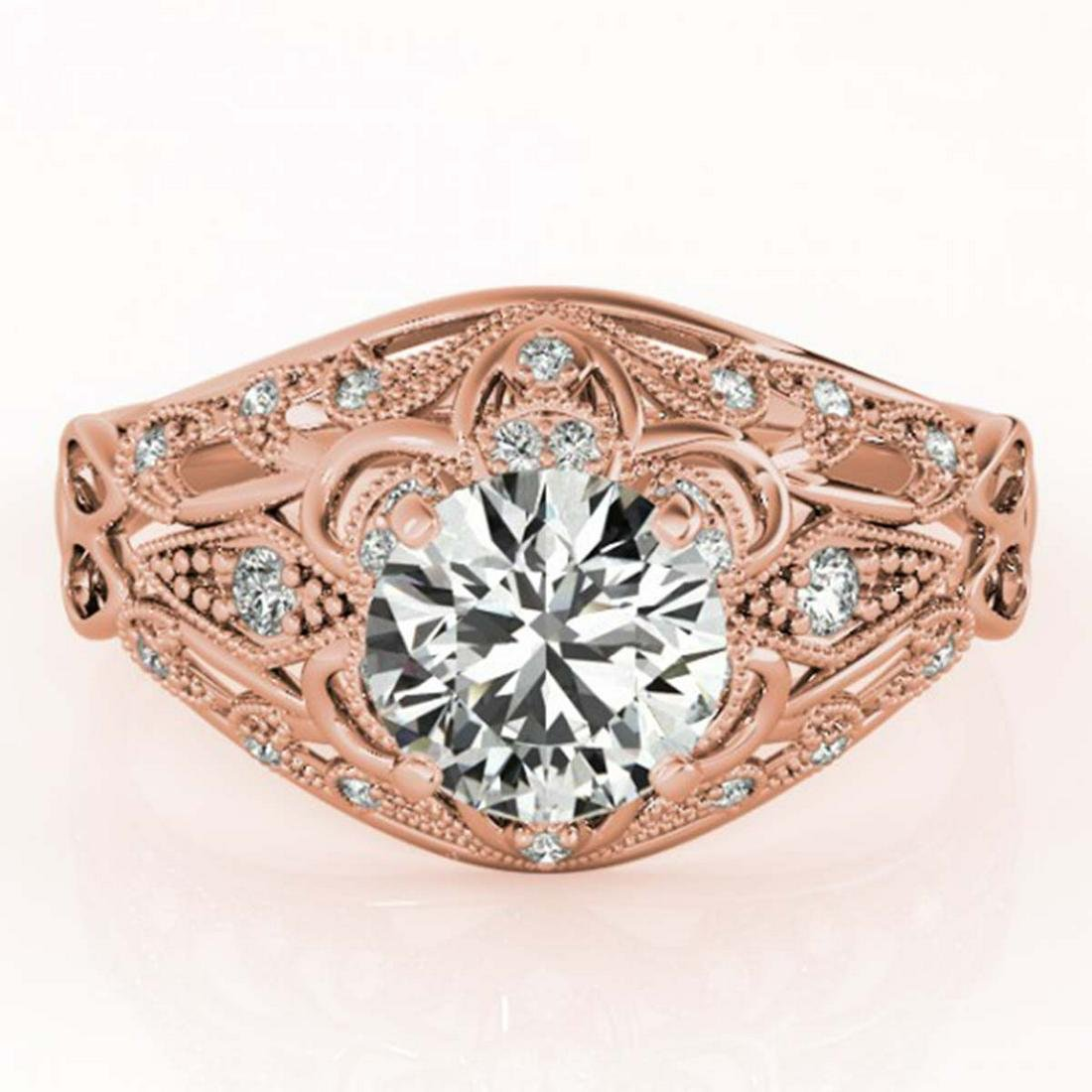 1.12 ctw VS/SI Diamond Ring 18K Rose Gold - REF-164F6N
