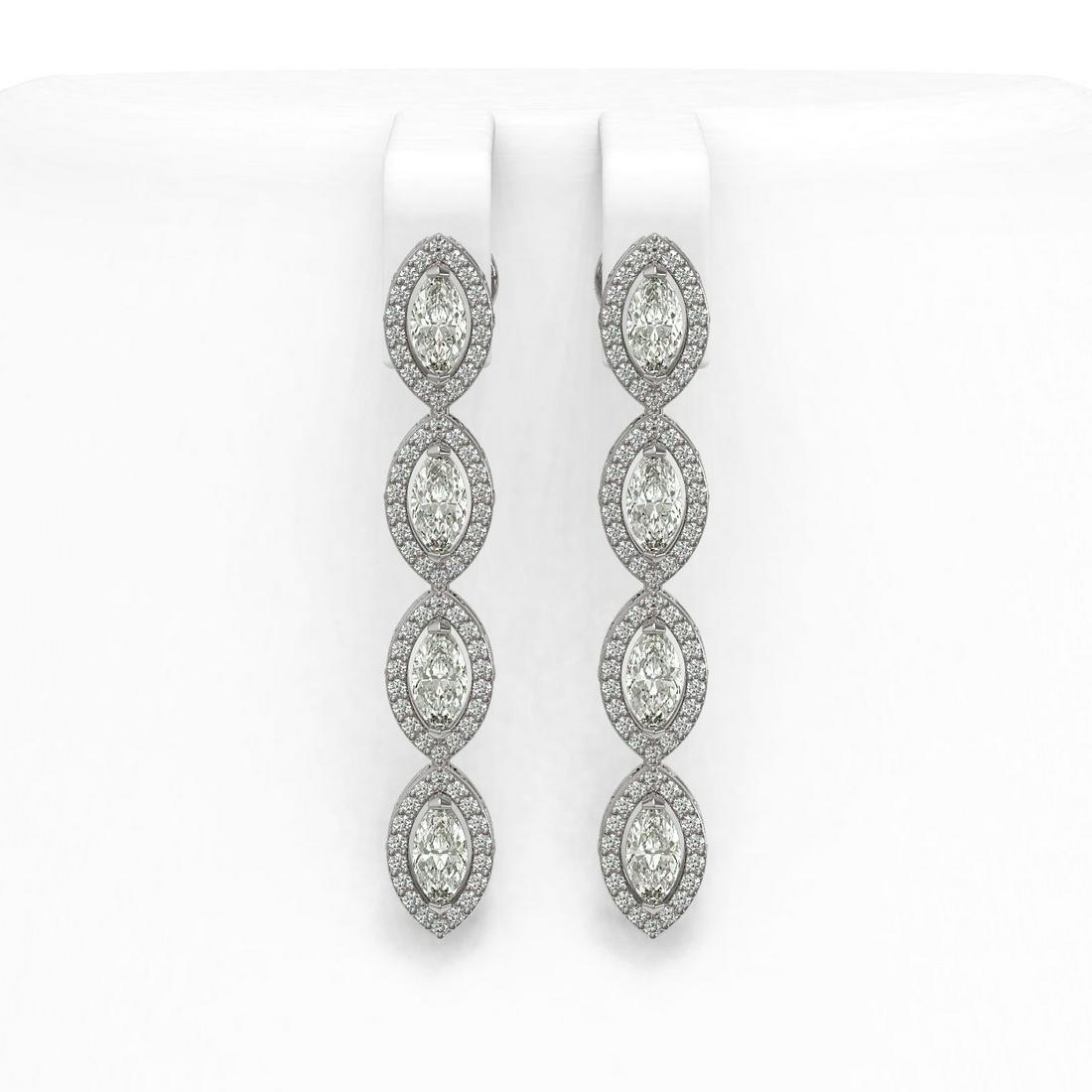 4.52 ctw Marquise Diamond Earrings 18K White Gold -