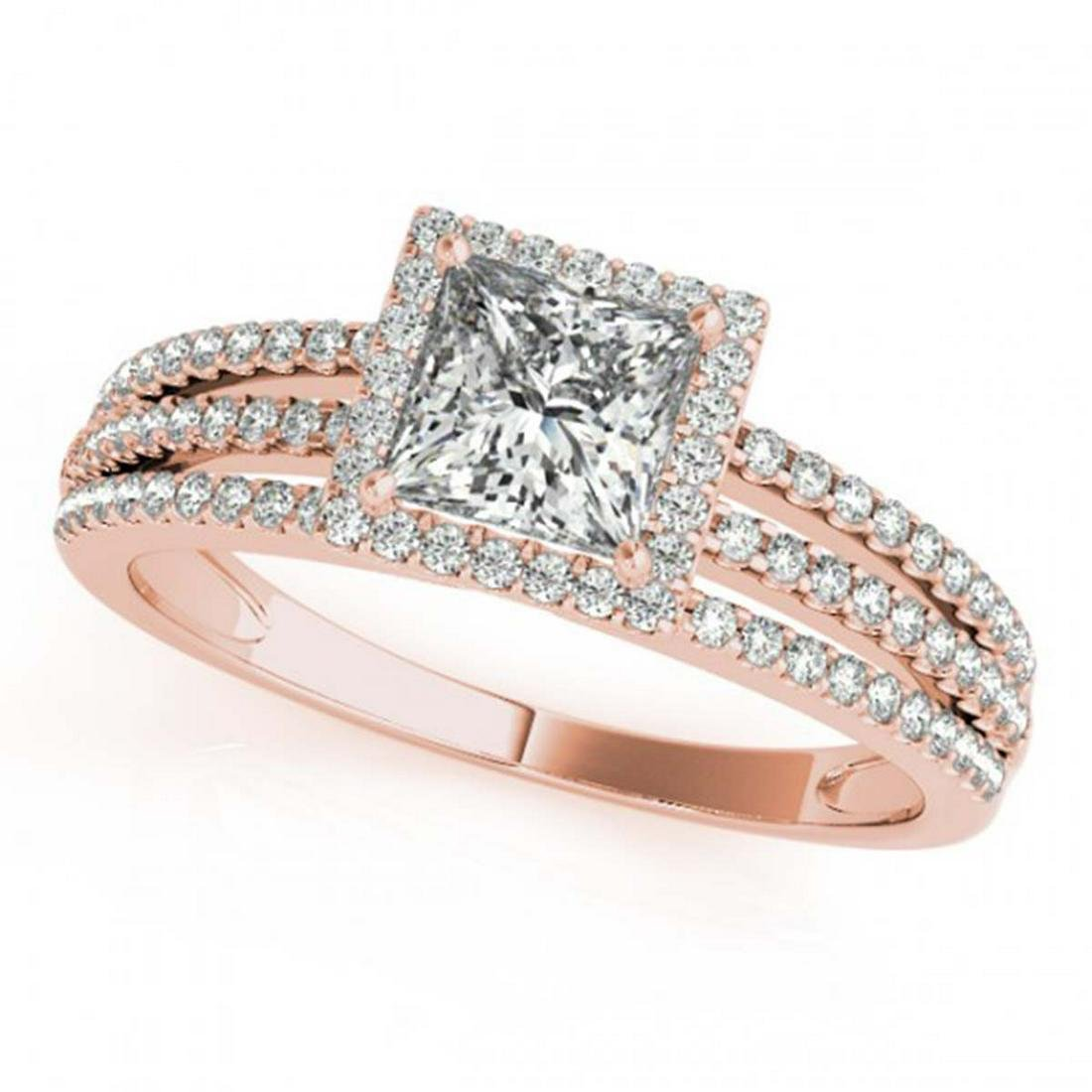 1.20 ctw VS/SI Princess Diamond Halo Ring 18K Rose Gold