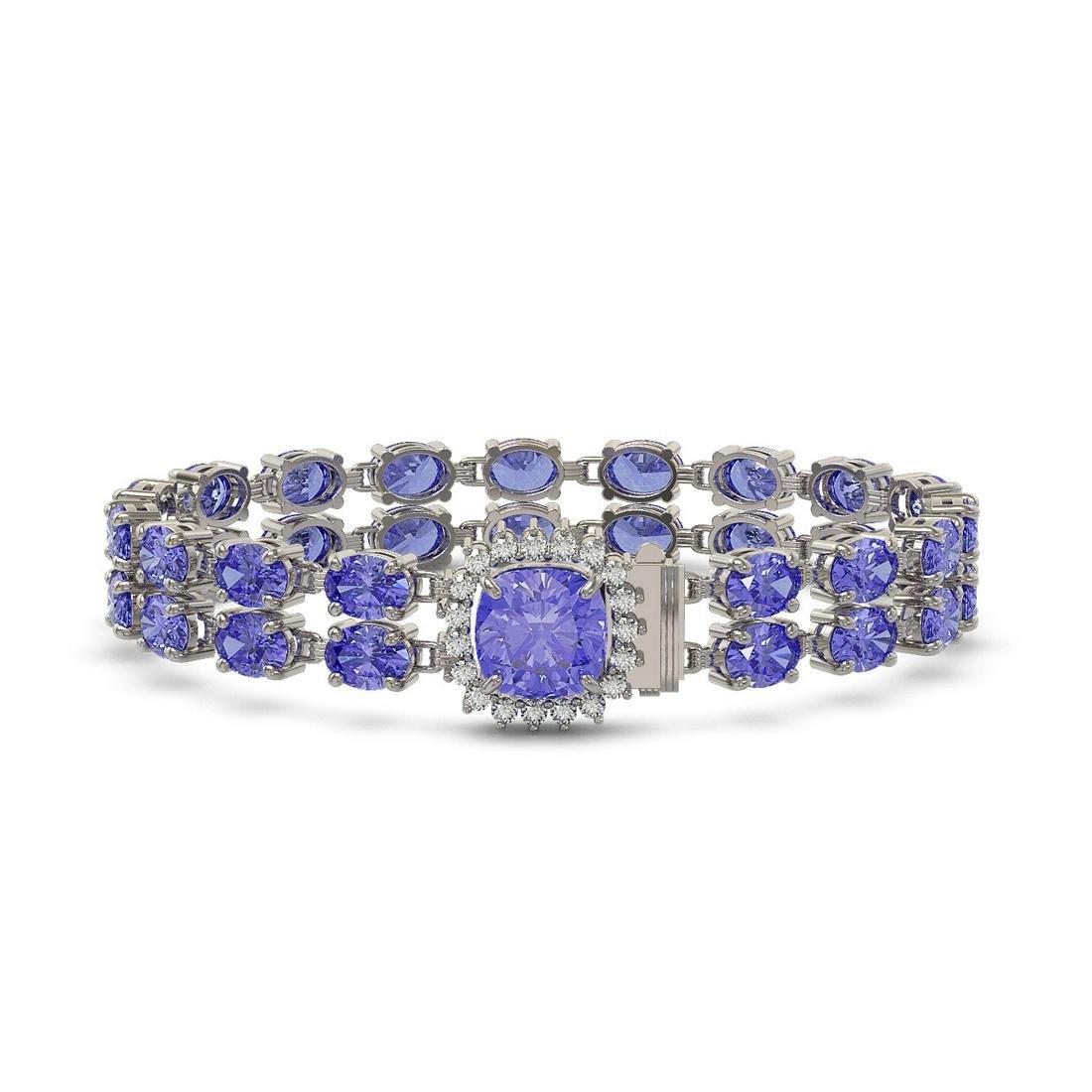30.43 ctw Tanzanite & Diamond Bracelet 14K White Gold -