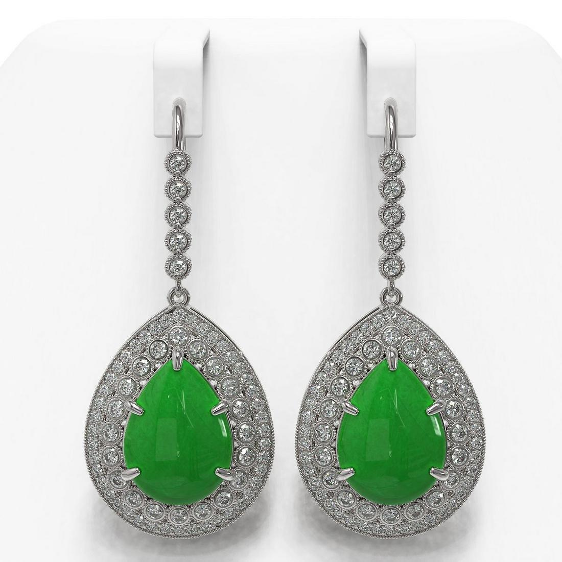20.82 ctw Jade & Diamond Earrings 14K White Gold -