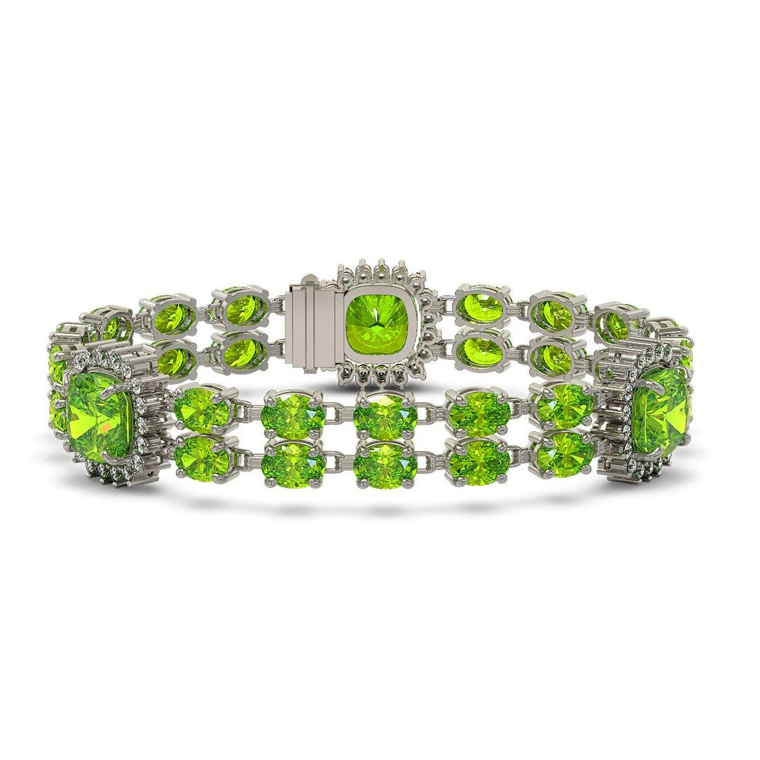 39.47 ctw Peridot & Diamond Bracelet 14K White Gold -