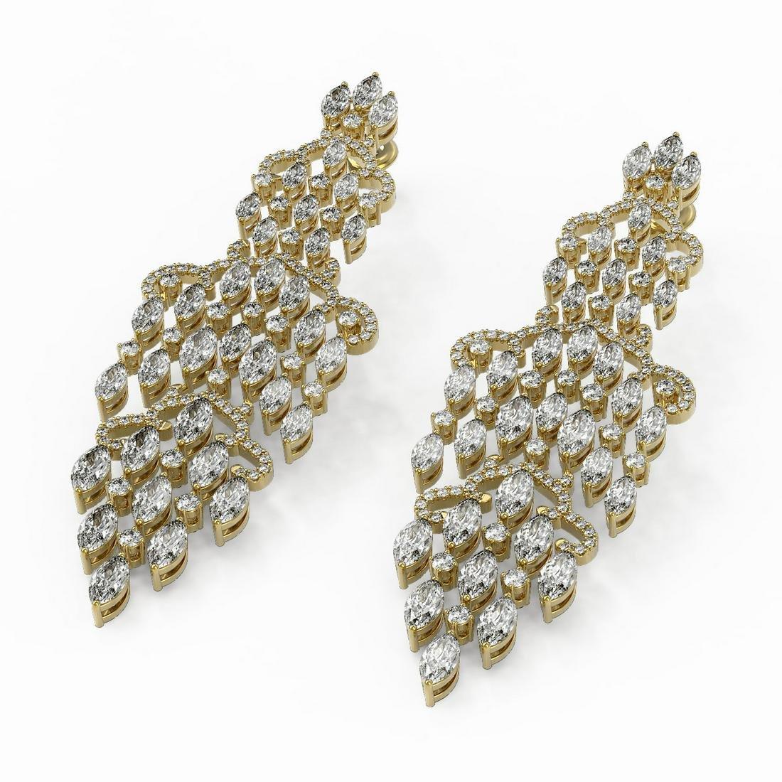 15.32 ctw Marquise Cut Diamond Earrings 18K Yellow Gold