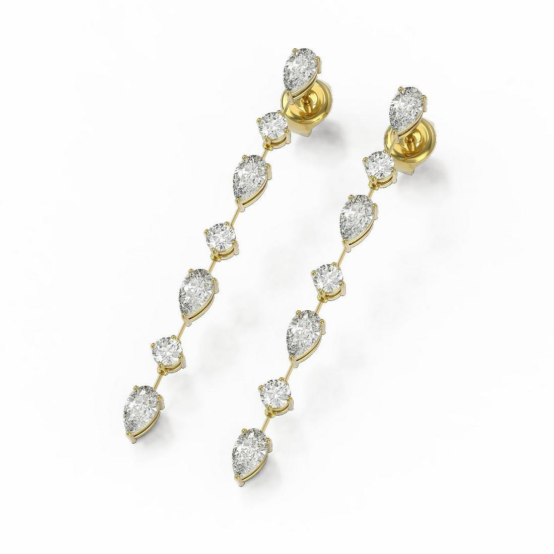 2.88 ctw Pear Cut Diamond Designer Earrings 18K Yellow