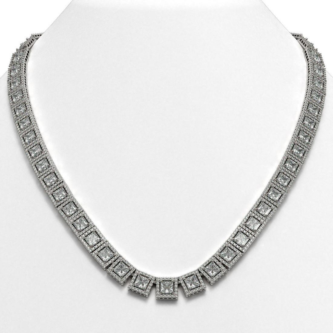 41.80 ctw Princess Cut Diamond Micro Pave Necklace 18K