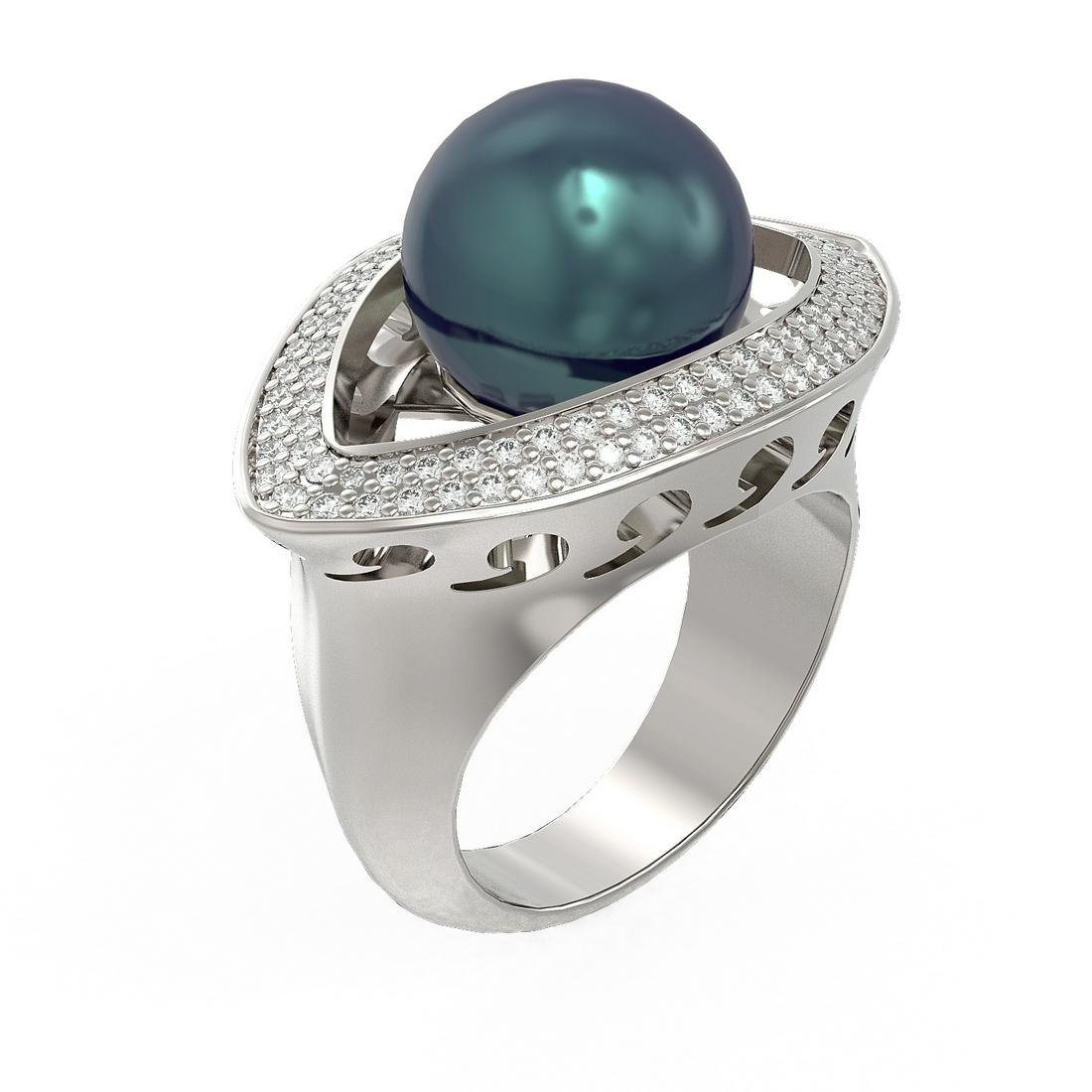 1 ctw Diamond and Pearl Ring 18K White Gold -