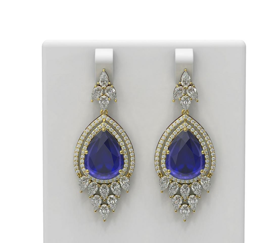 29.79 ctw Sapphire & Diamond Earrings 18K Yellow Gold -