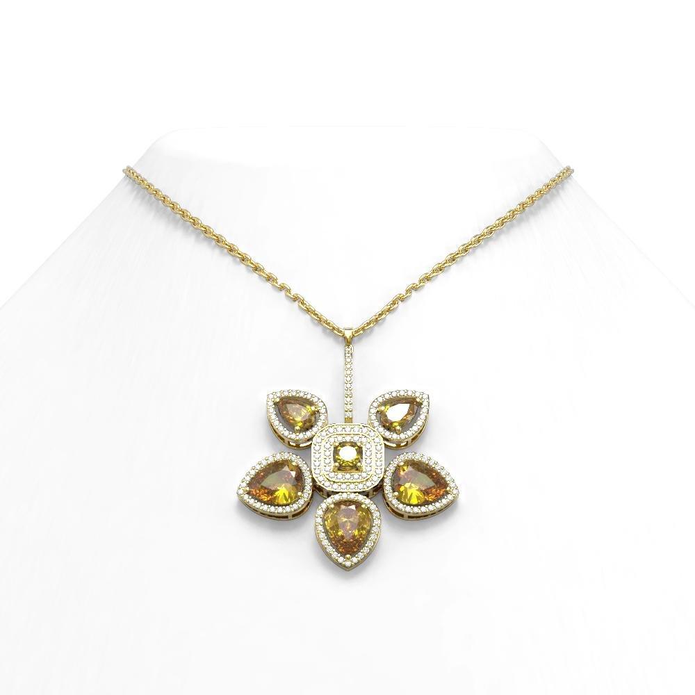 11.52 ctw Canary Citrine Diamond Necklace 18K Yellow