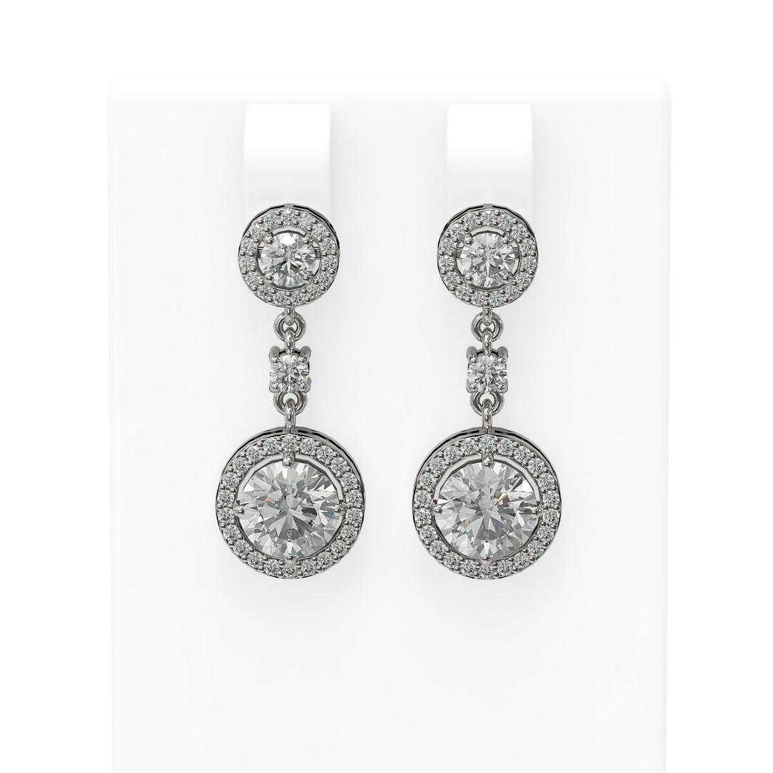 3.35 ctw Diamond Earrings 18K White Gold - REF-617Y5V