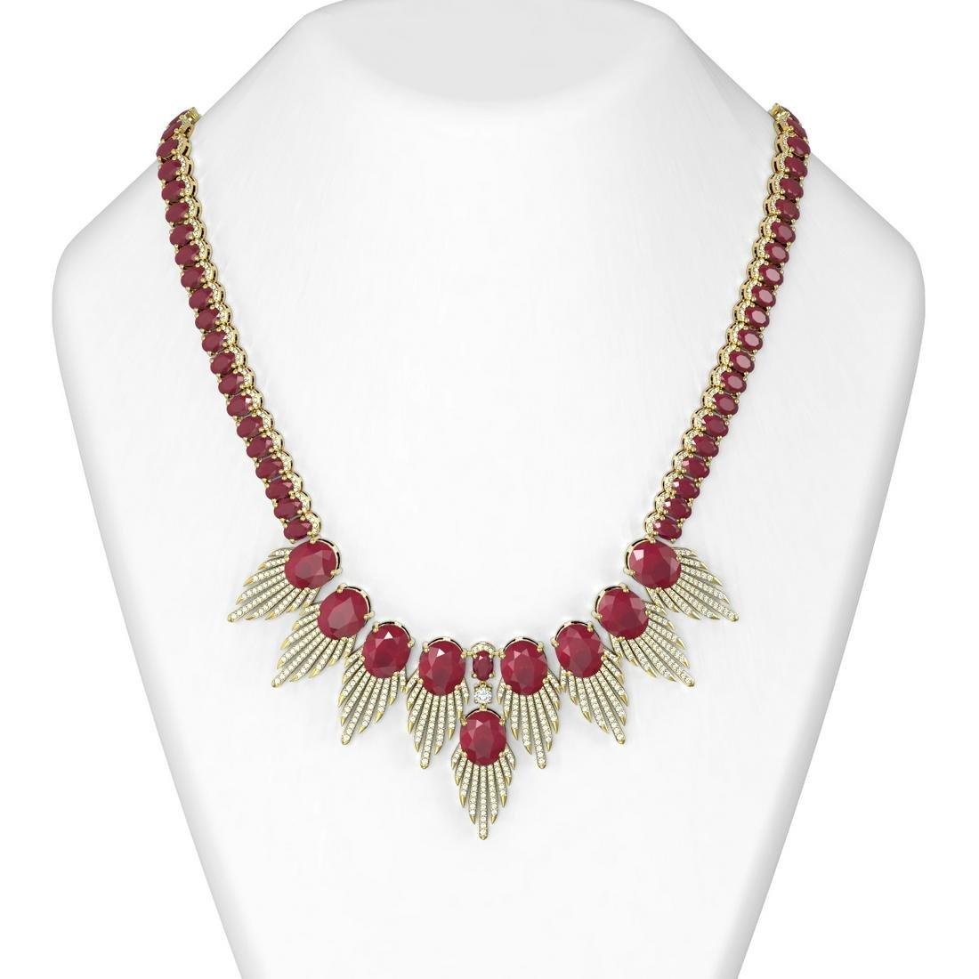88.87 ctw Ruby & Diamond Necklace 18K Yellow Gold -