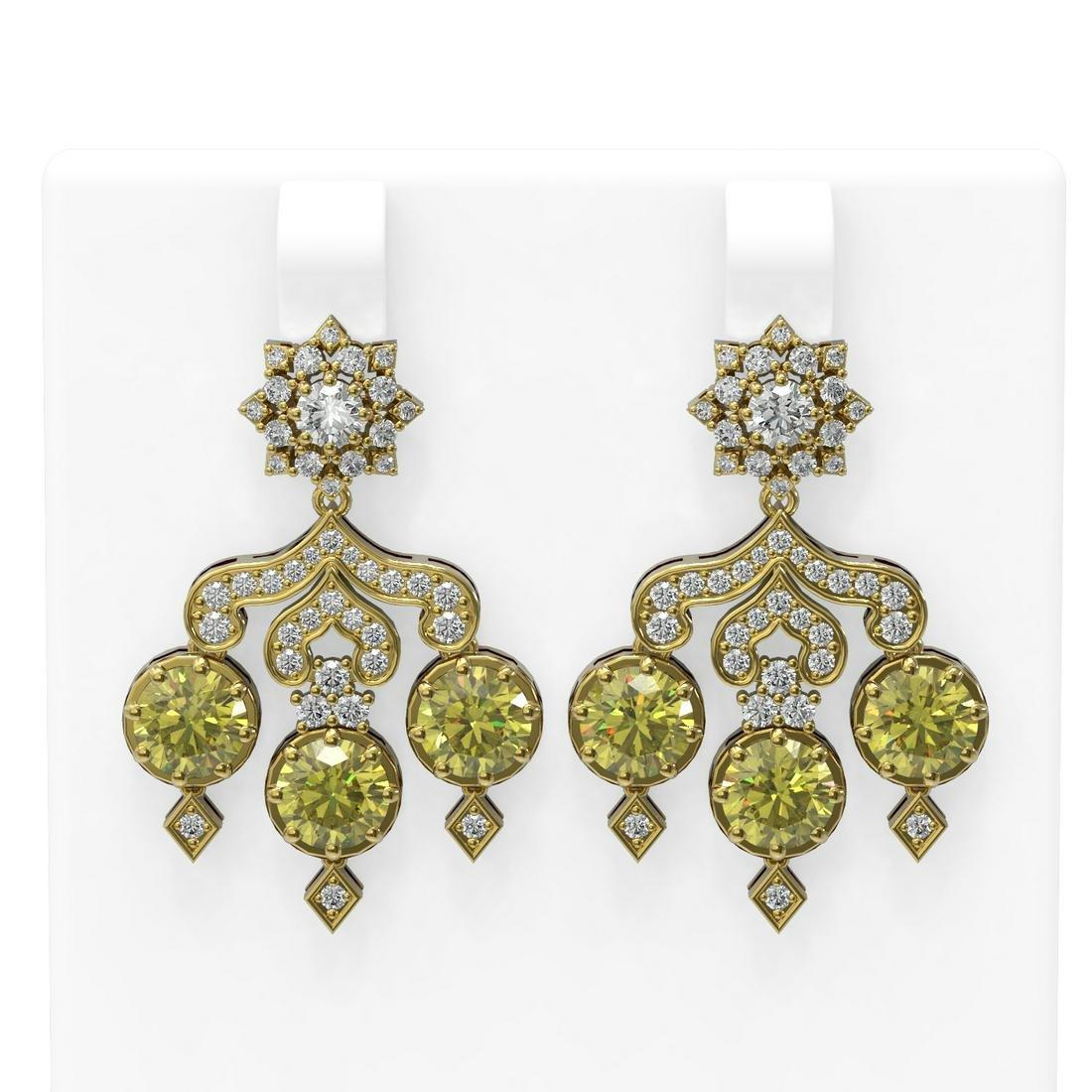 6.3 ctw Fancy Yellow Diamond Earrings 18K Yellow Gold -
