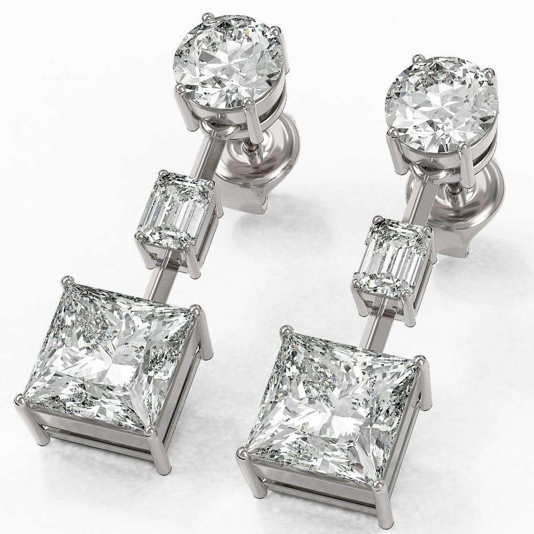 5 ctw Princess Cut Diamond Designer Earrings 18K White