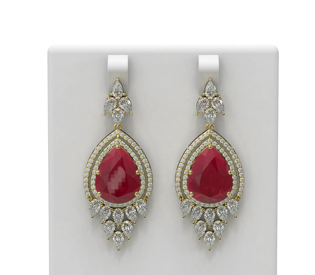 29.79 ctw Ruby & Diamond Earrings 18K Yellow Gold -