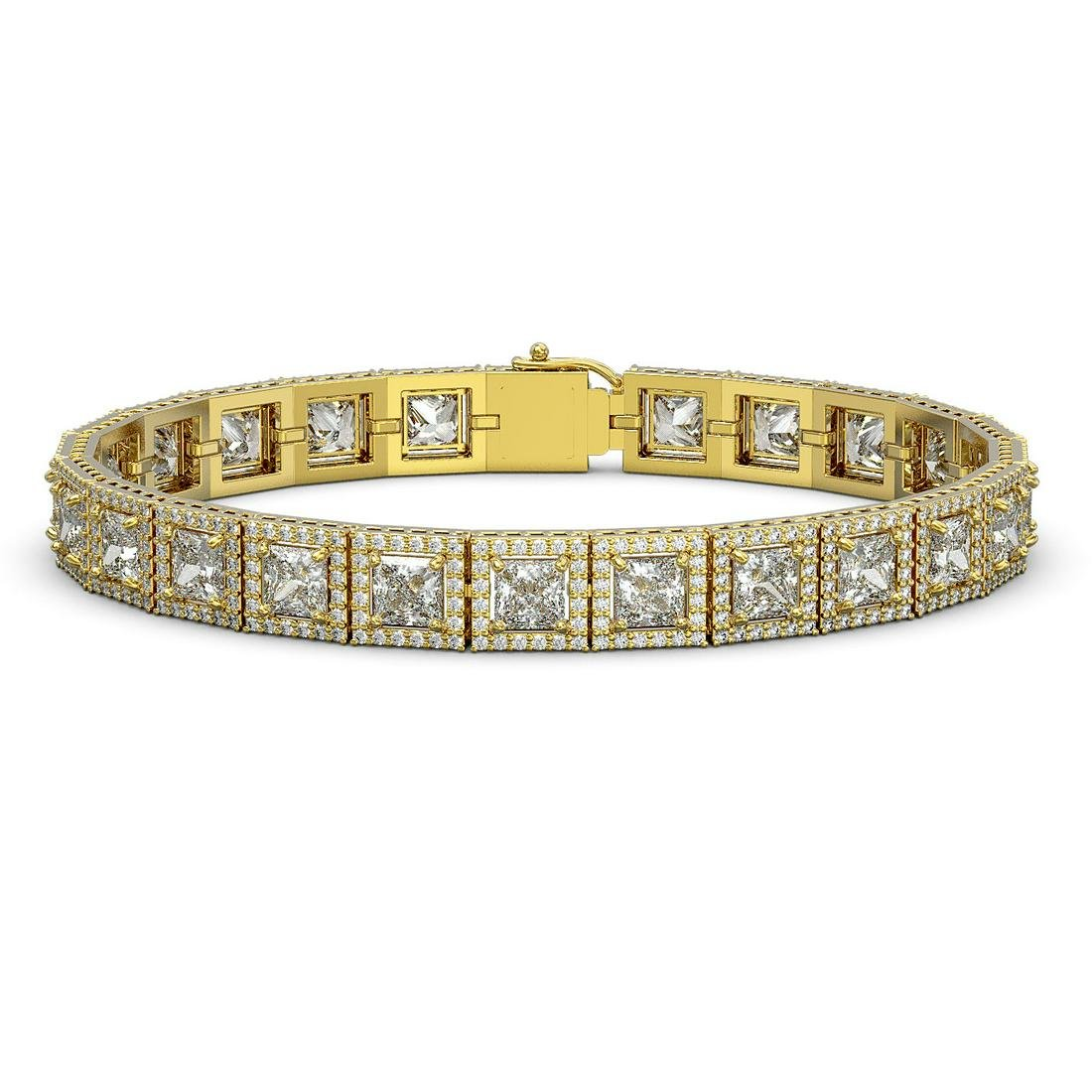 18.24 ctw Princess Cut Diamond Micro Pave Bracelet 18K