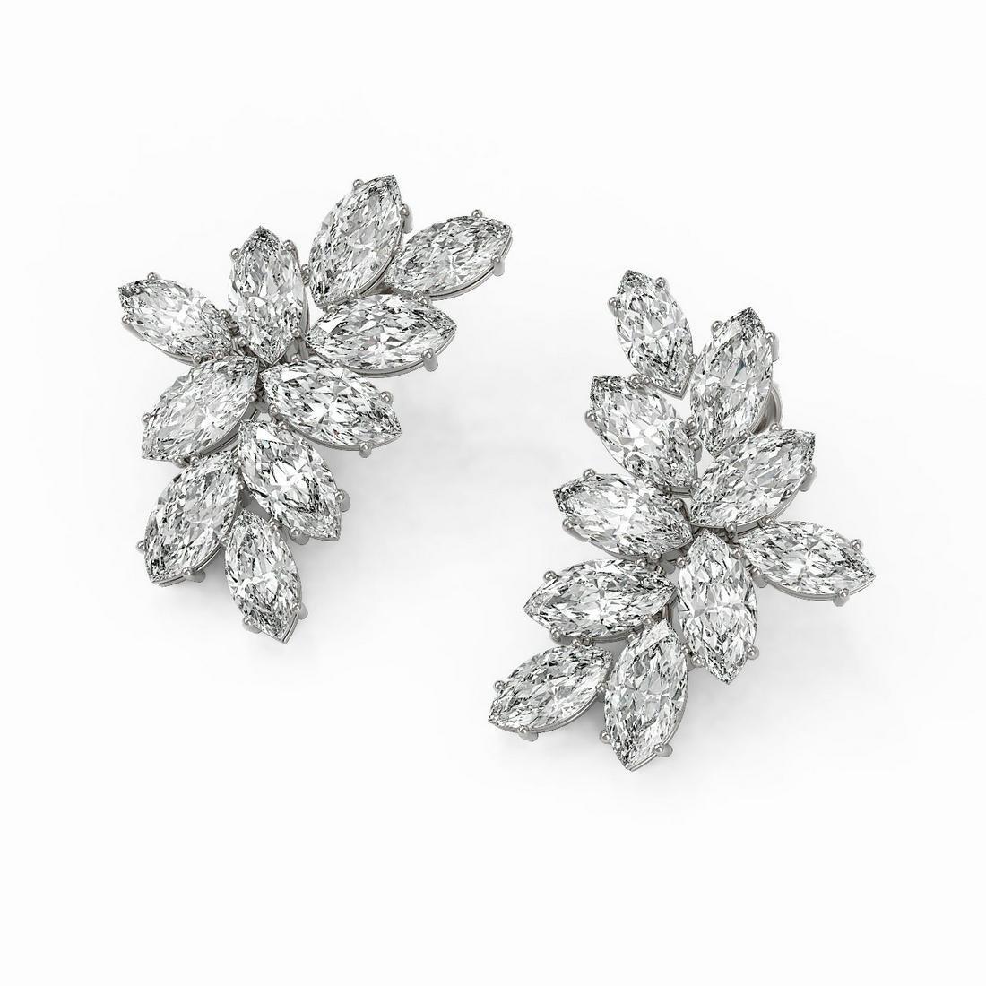 14 ctw Marquise Cut Diamond Designer Earrings 18K White