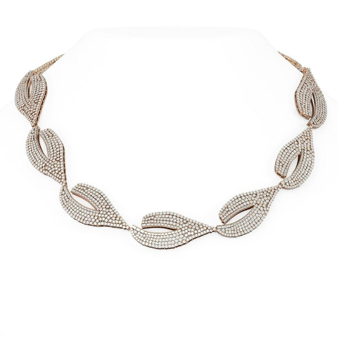 37 ctw Diamond Necklace 18K Rose Gold - REF-2904H9R