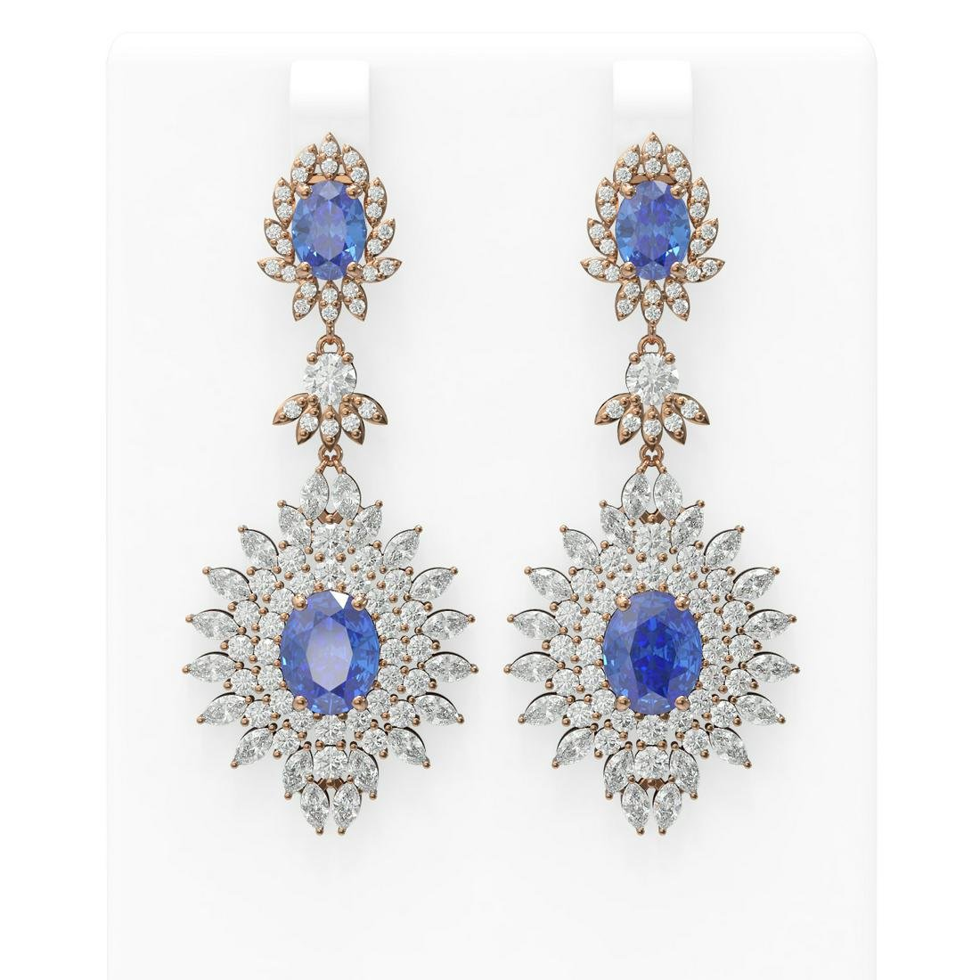 20.94 ctw Tanzanite & Diamond Earrings 18K Rose Gold -