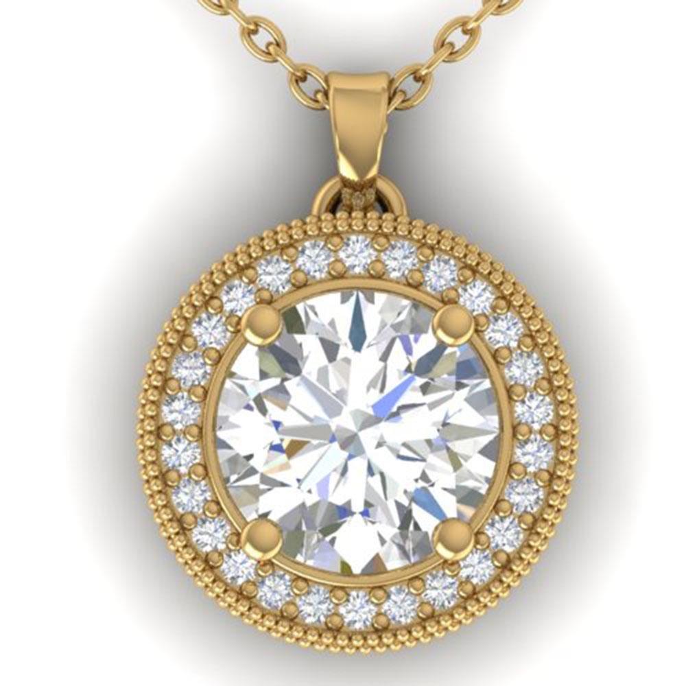 2 ctw VS/SI Diamond Art Deco Micro Halo Necklace 18k