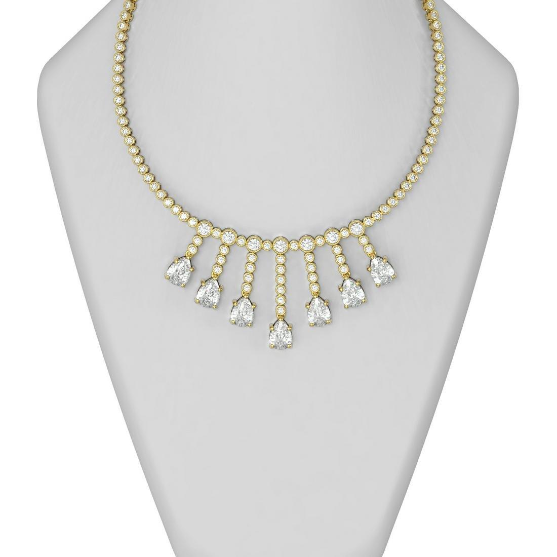28 ctw Diamond Necklace 18K Yellow Gold - REF-10099F3M