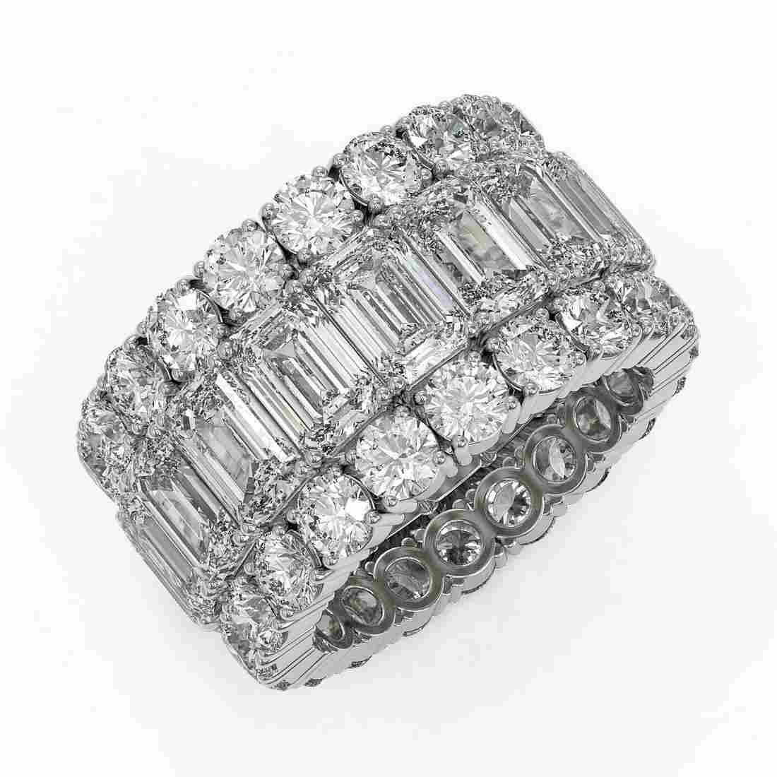 13.87 ctw Emerald Cut Diamond Eternity Ring 18K White