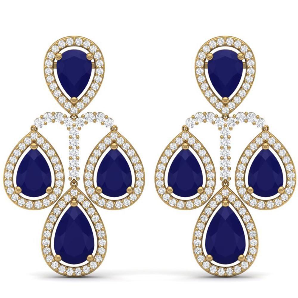 29.23 ctw Sapphire & VS Diamond Earrings 18K Yellow