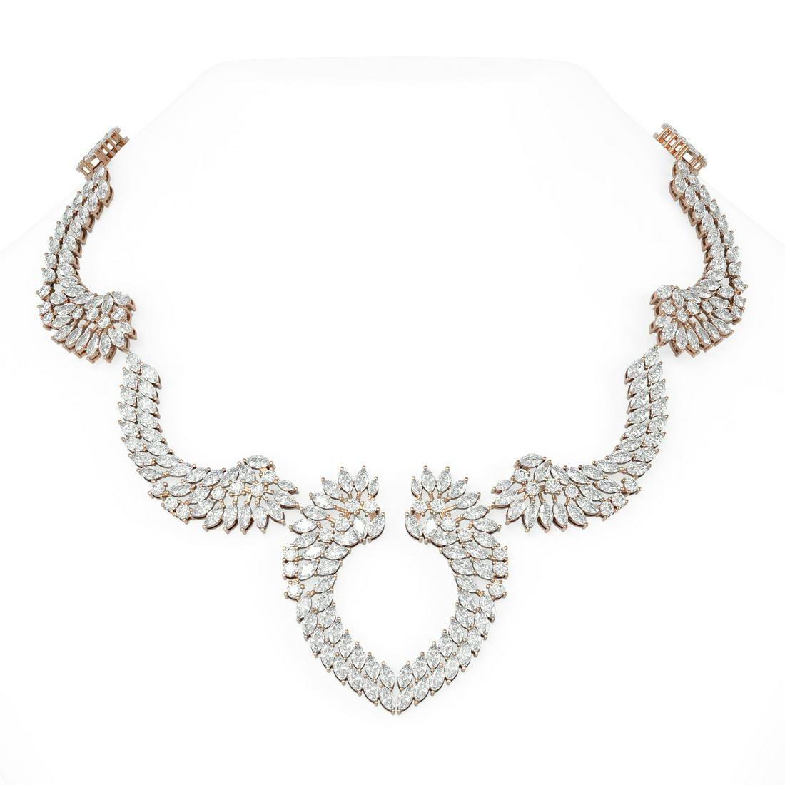 82 ctw Diamond Necklace 18K Rose Gold - REF-10473M3G