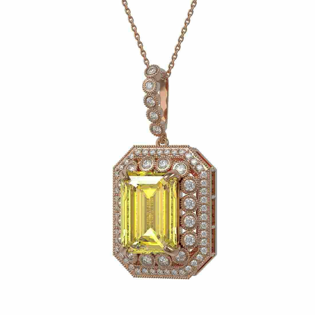 16.65 ctw Canary Citrine & Diamond Victorian Necklace