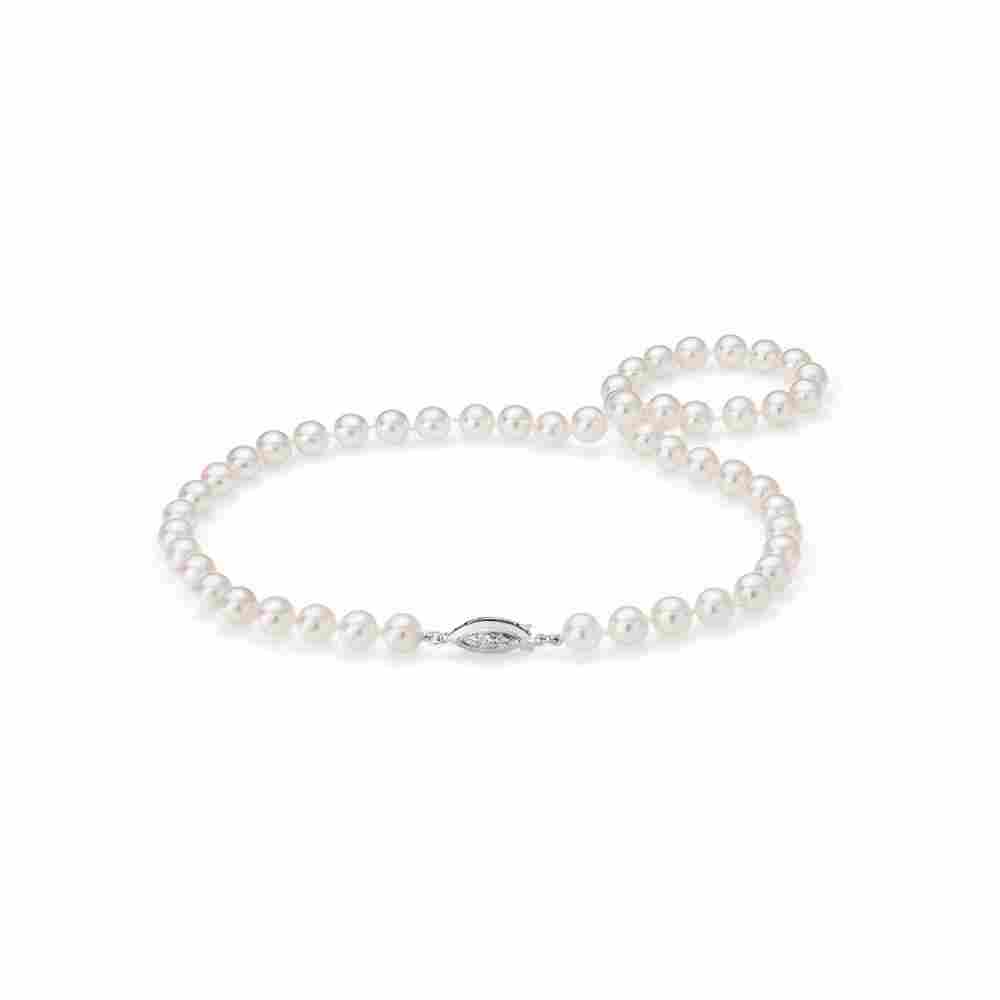 """11 mm Akoya Cultured Pearl 17"""" Necklace Lock 14k White"""