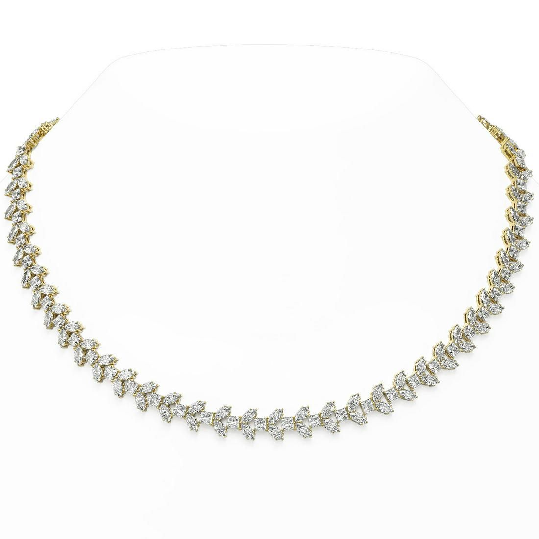 37 ctw Princess & Marquise cut Diamond Necklace 18K
