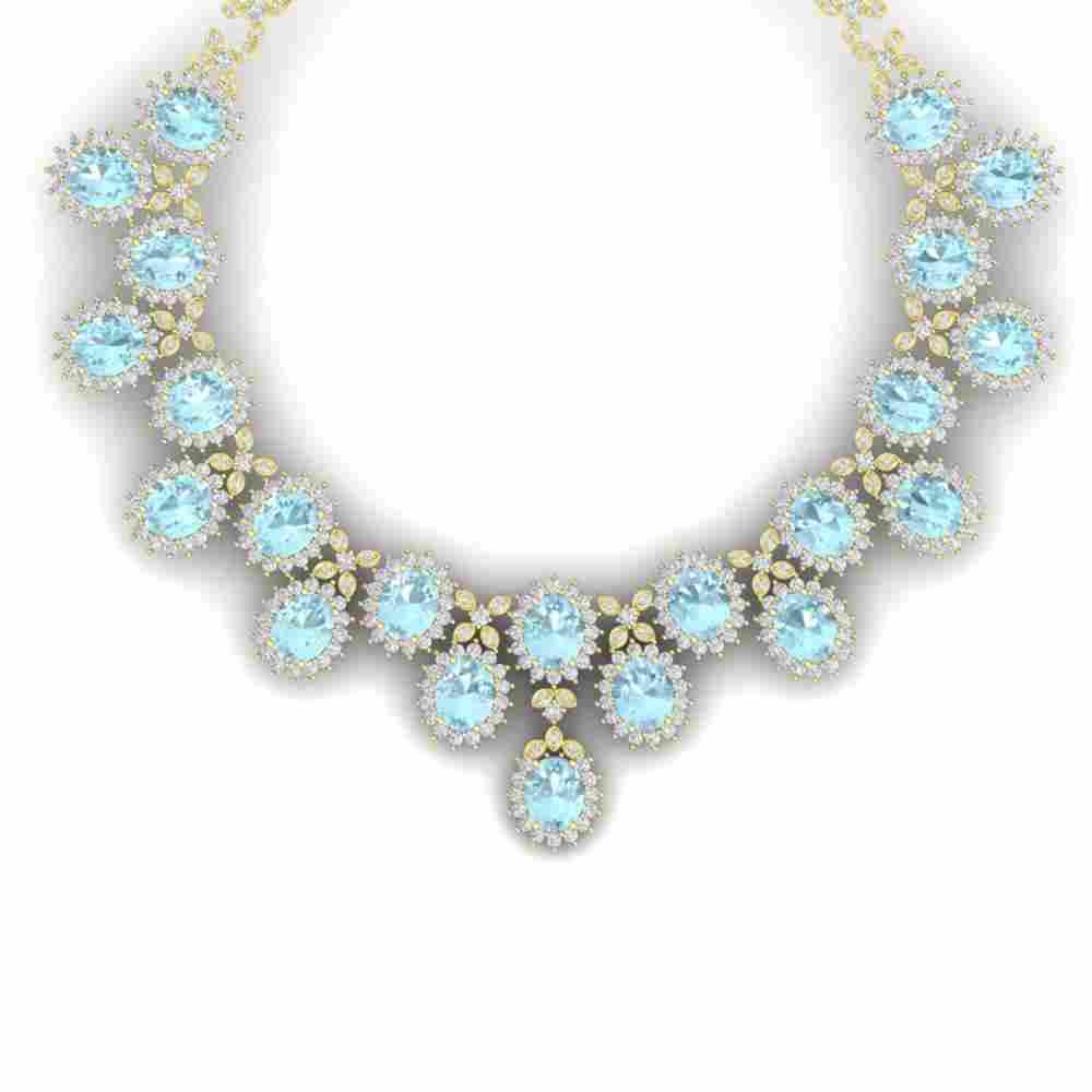 83 ctw Sky Topaz & VS Diamond Necklace 18K Yellow Gold