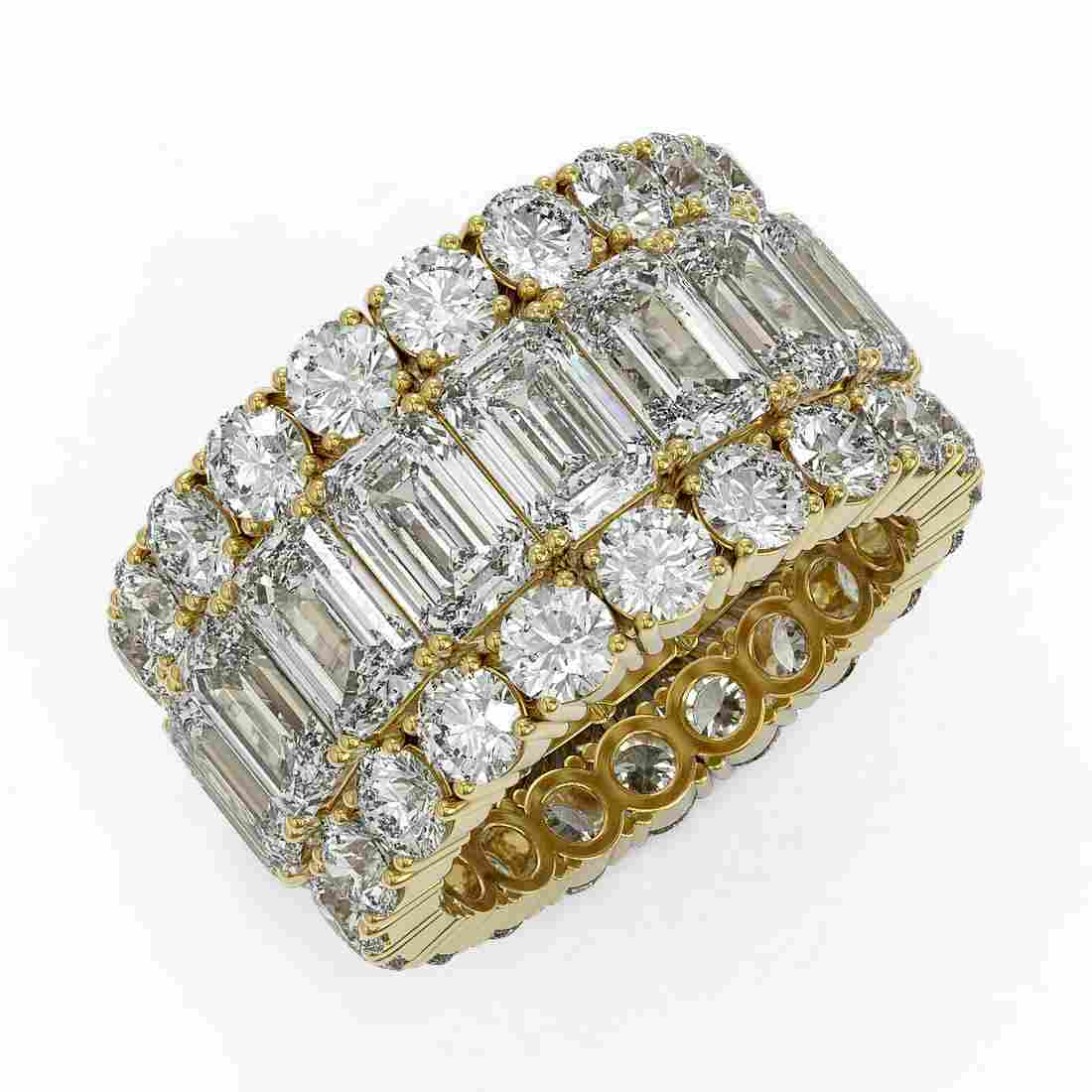 13.87 ctw Emerald Cut Diamond Eternity Ring 18K Yellow