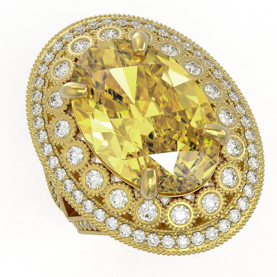 18.67 ctw Canary Citrine & Diamond Victorian Ring 14K