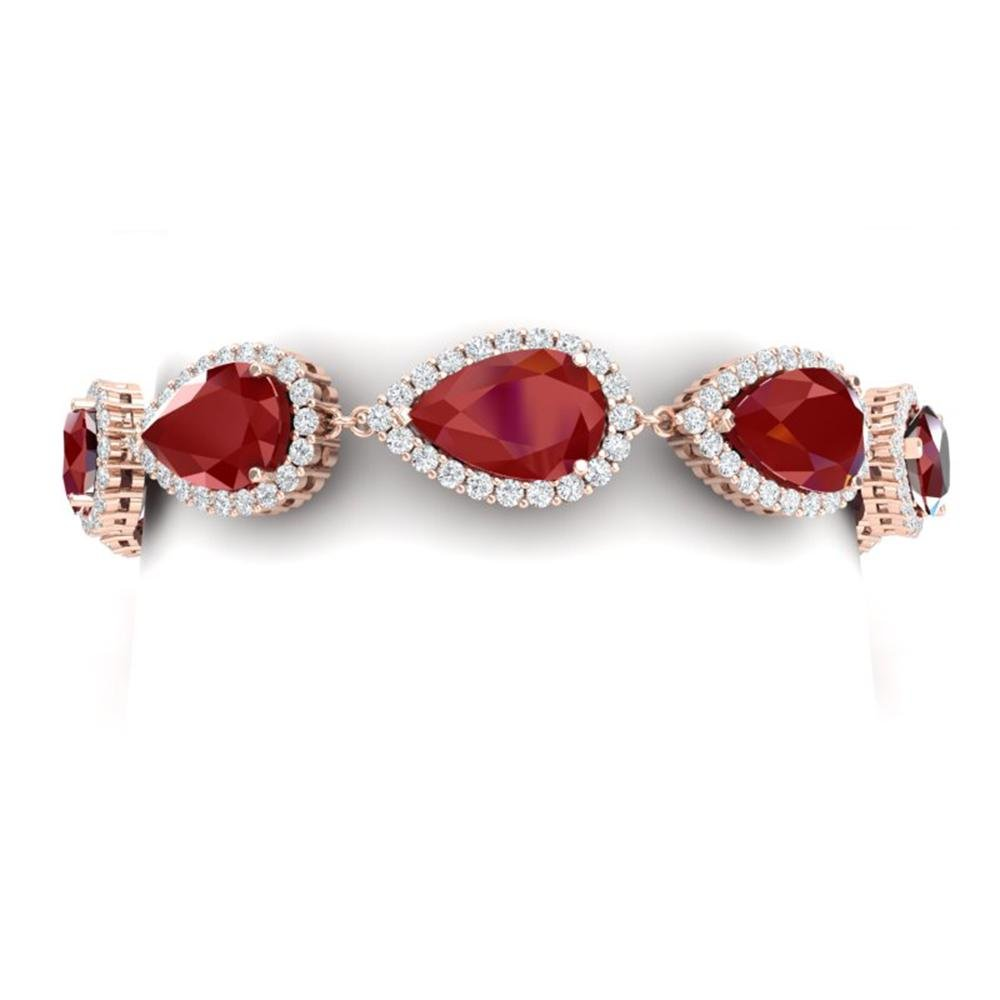 42 ctw Designer Ruby & VS Diamond Bracelet 18K Rose