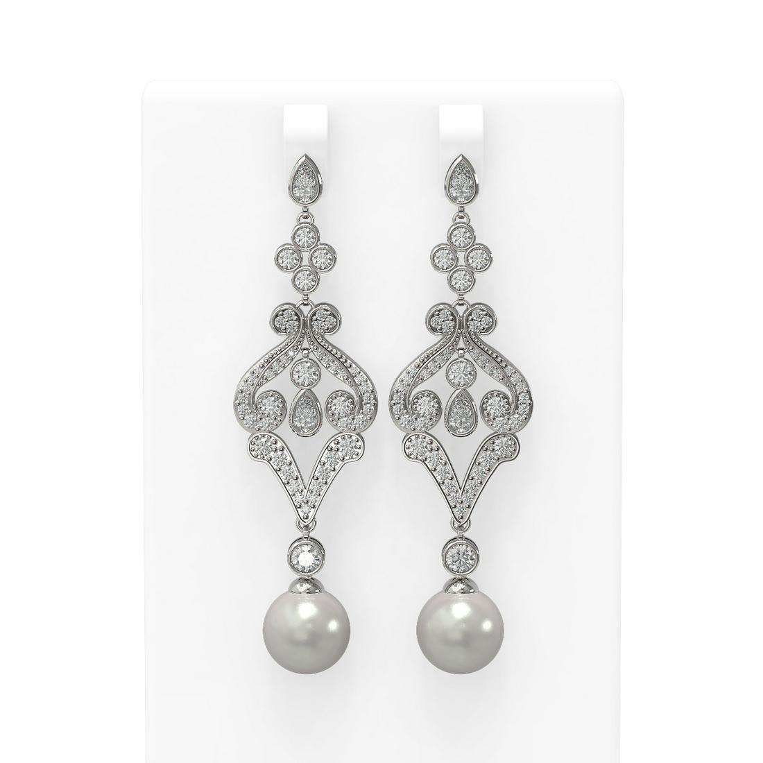 4.57 ctw Diamond & Pearl Earrings 18K White Gold -