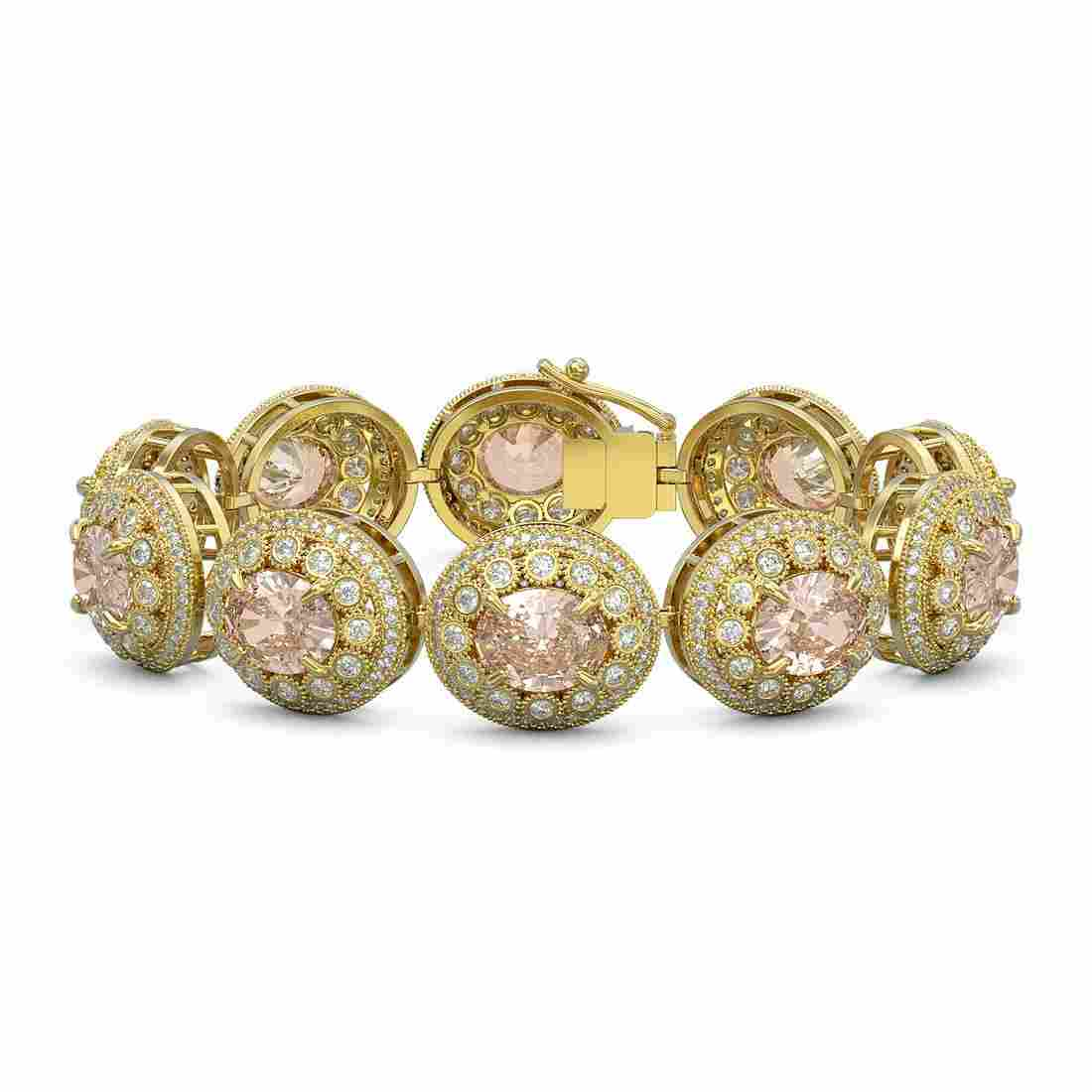 40.92 ctw Morganite & Diamond Victorian Bracelet 14K