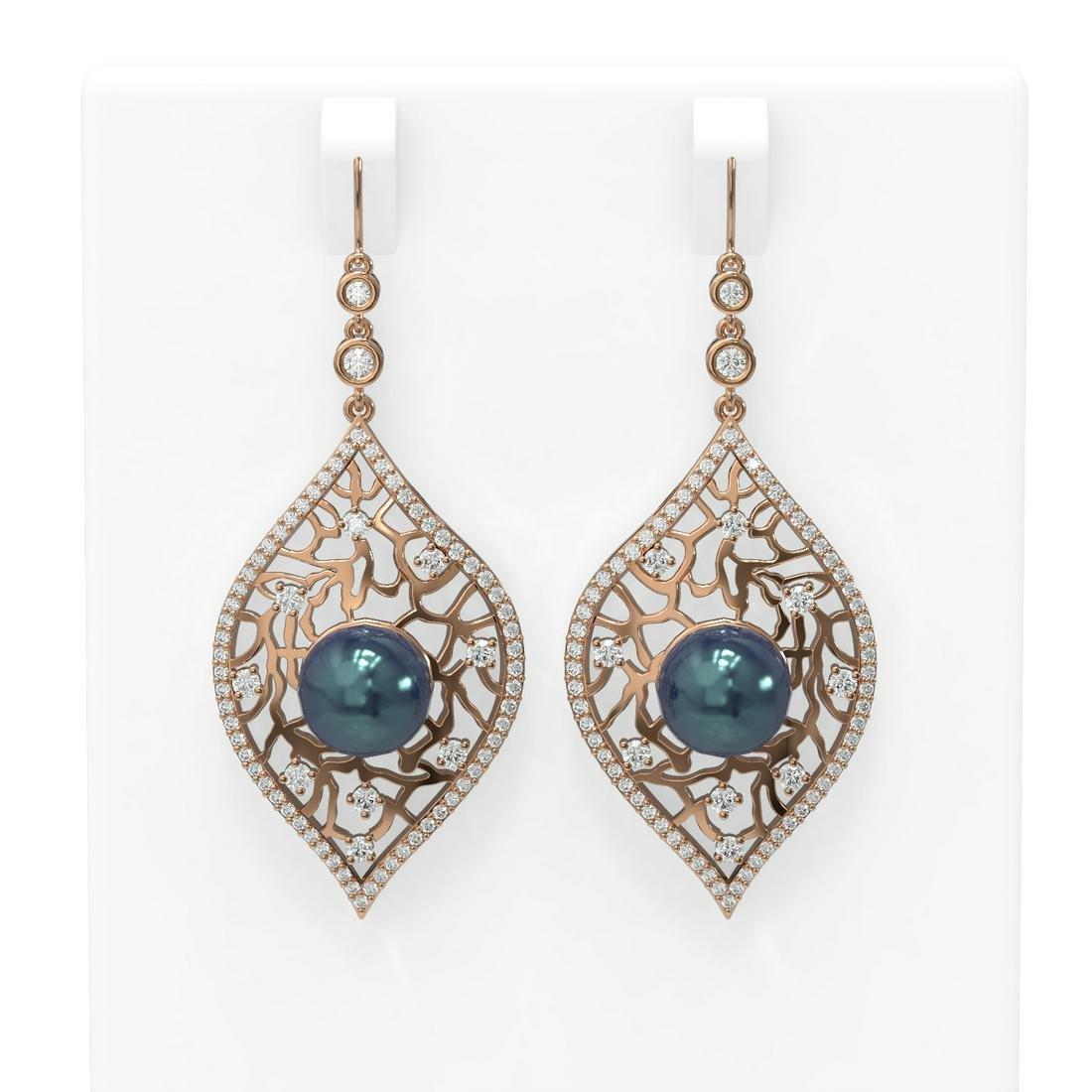 2.78 ctw Diamond & Pearl Earrings 18K Rose Gold -