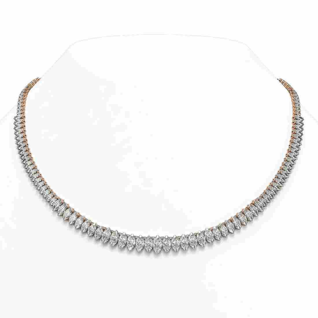 33 ctw Marquise Diamond Rare Eternity Necklace 18K Rose