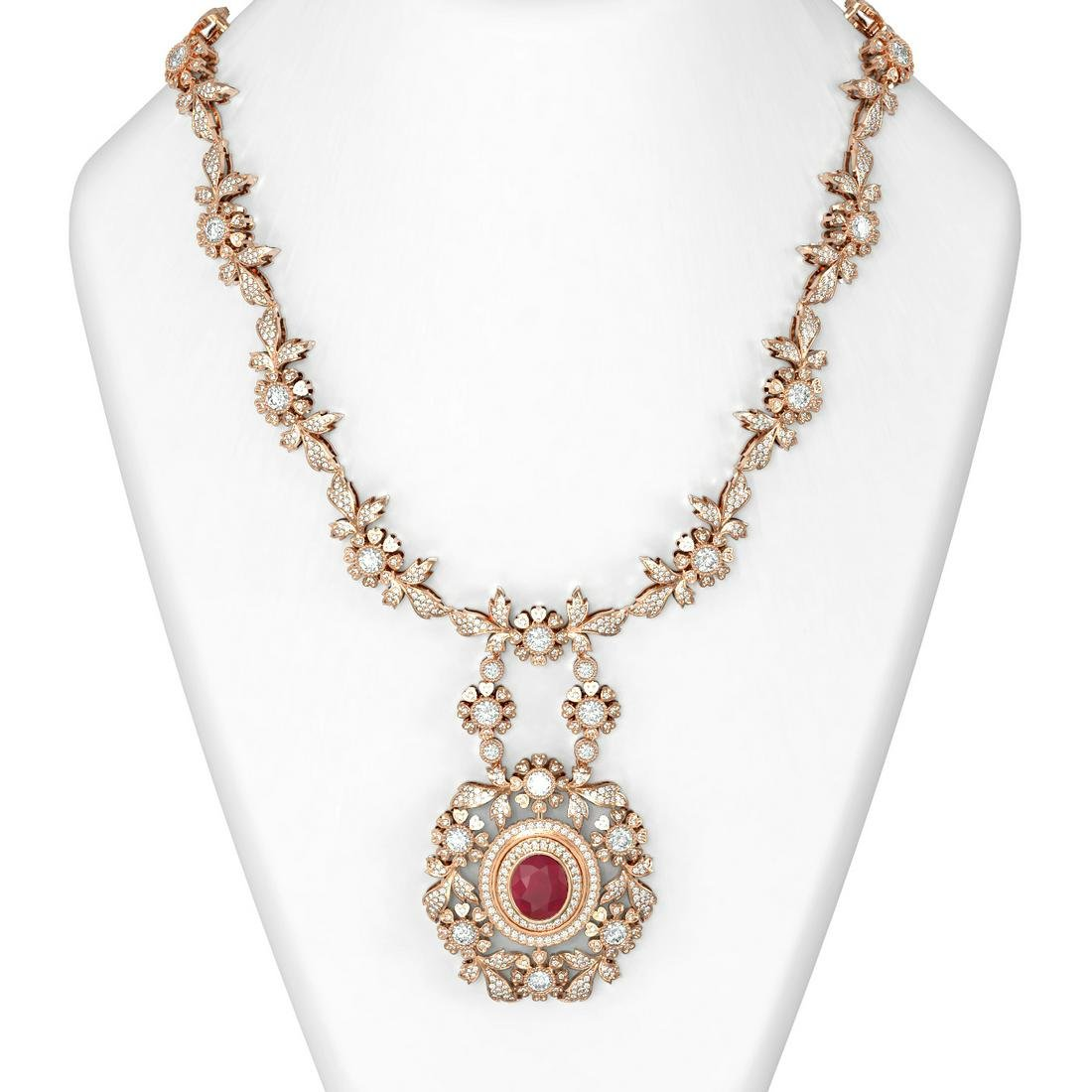24.87 ctw Ruby & Diamond Necklace 18K Rose Gold -