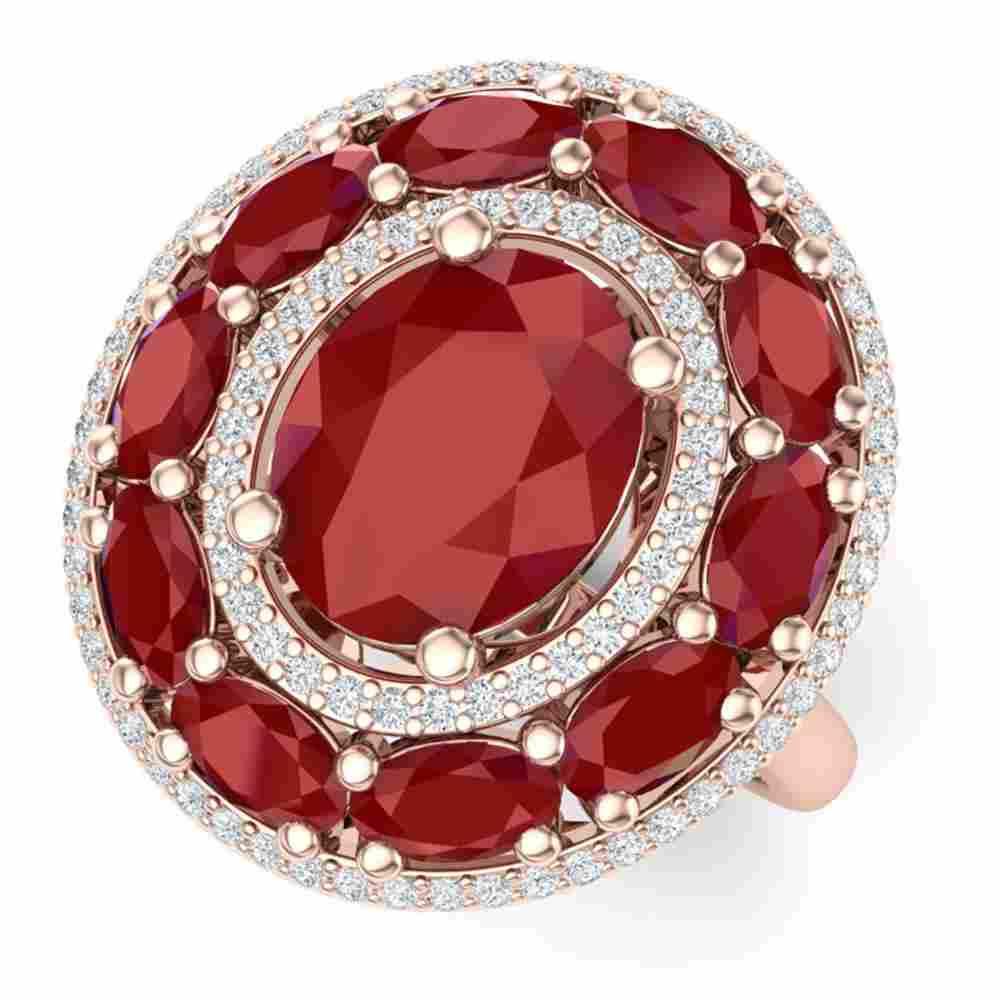 8.05 ctw Designer Ruby & VS Diamond Ring 18K Rose Gold