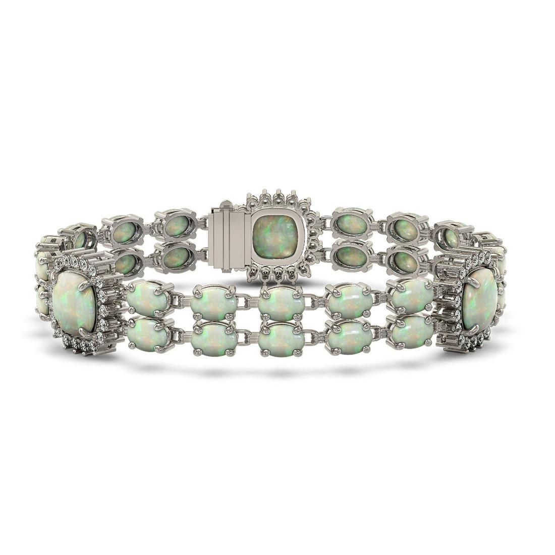 29.7 ctw Opal & Diamond Bracelet 14K White Gold -